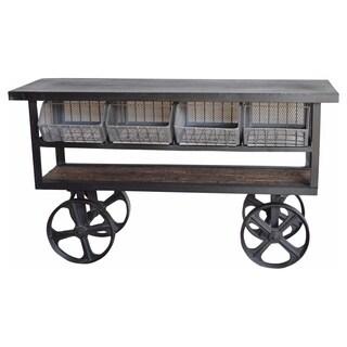 Porter Industrial Metal Wheel 61-inch Side Table Trolley (India)