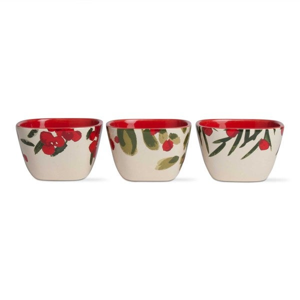 TAG Greenery Stoneware Bowl-Red/Green Set of 3