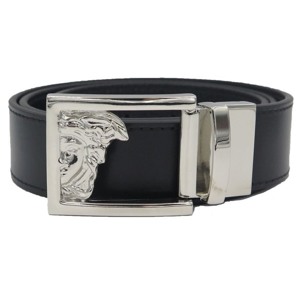 Versace Collection Black Leather Reversible Adjustable Cutout Medusa Belt
