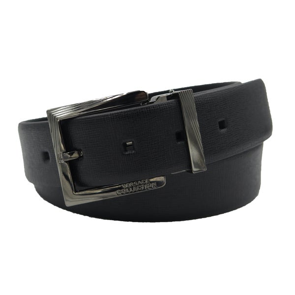 Versace Collection Black Saffiano Leather Adjustable Black Buckle Belt
