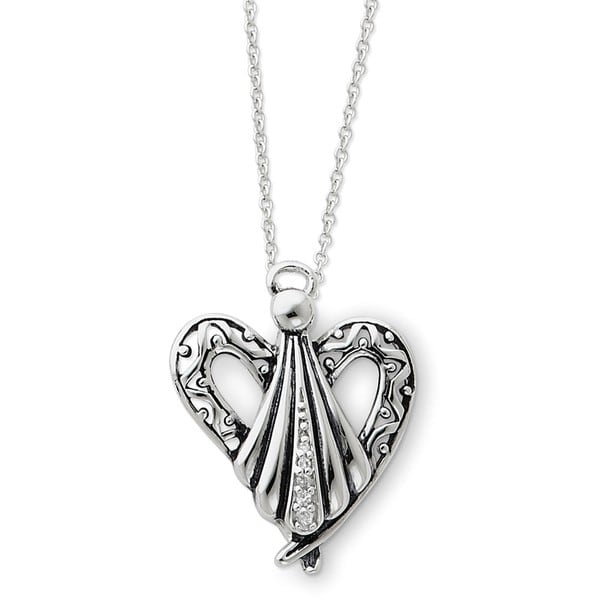 Sterling Silver Cubic Zirconia Antiqued Angel of Friendship Necklace