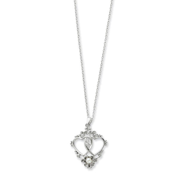 Sterling Silver Freshwater Pearl and Cubic Zirconia Two Hearts, One Love Heart Necklace (2-3 MM)