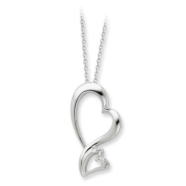 Sterling Silver Cubic Zirconia Protected Heart Necklace