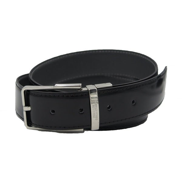 Versace Collection Black/ Grey Leather Reversible Adjustable Belt