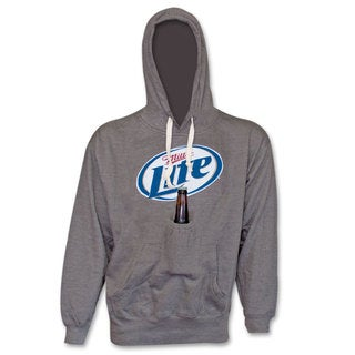 Men's Miller Lite Beer New Logo Pouch Grey Hooded Sweat Shirt