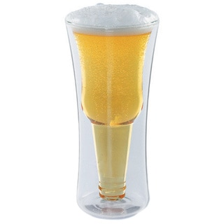 Modern Home Inverso Double Wall Borosilicate Inverted Beer Glass (Set of 4)