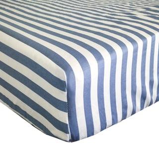Petit Tresor Luca Stripe Print Fitted Crib Sheet