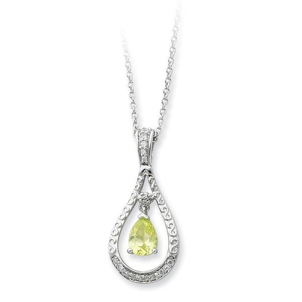 Sterling Silver Cubic Zirconia Stone Never Forget Tear Drop August Birthstone Necklace