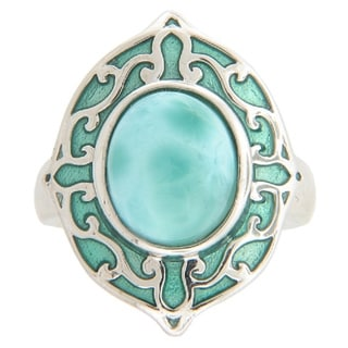 Sterling Silver Blue Larimar and Italian Enamel Ring