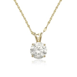14k Yellow or White Gold Round Cubic Zirconia Solitaire Necklace