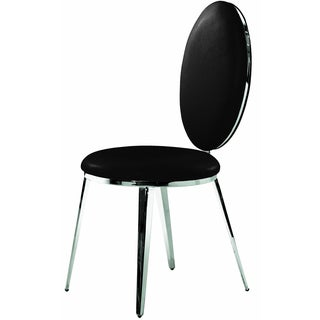 Belina Black Leather and Stainless Steel Dining Chair (Set of 2)