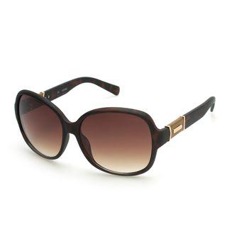 GUESS GUF237 Matte Brown Havana Plastic Round Frame Women's Sunglasses