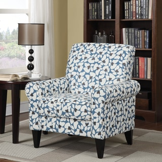 Portfolio Dana Blue Modern Floral Arm Chair