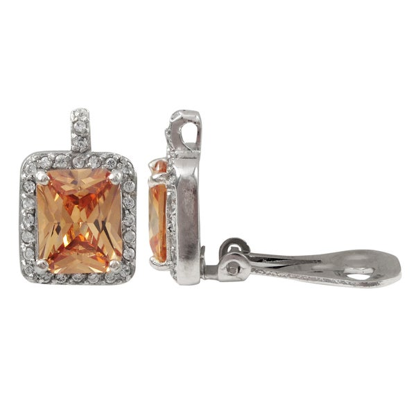 Sterling Silver Champagne Cubic Zirconia Square Clip-on Earrings