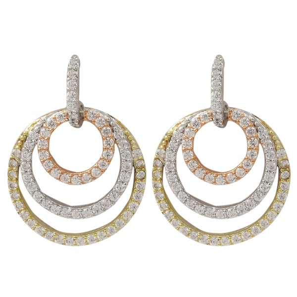 Luxiro Tri-color Sterling Silver Cubic Zirconia Concentric Circle Dangle Earrings 17570773