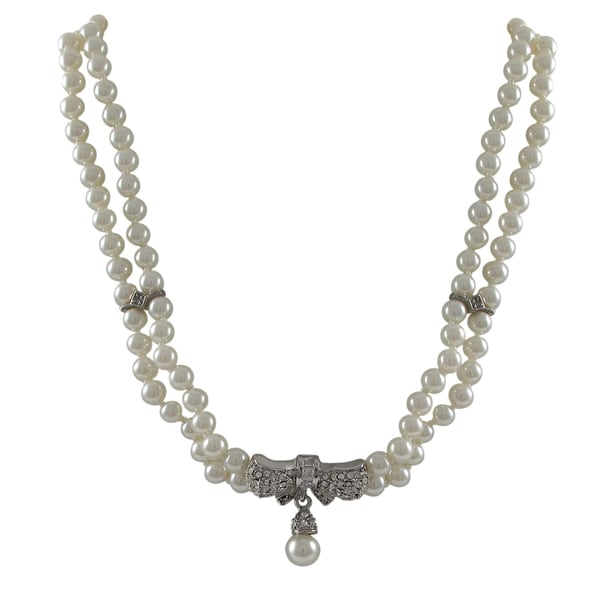 Rhodium Finish Faux Pearls Pave Crystals Bow Statement Necklace