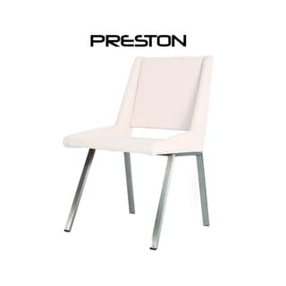 Preston White Leather and chrome Dining Chair (Set of 2)