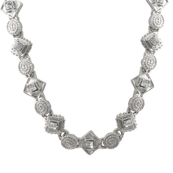 Rhodium Finish Pave Crystals Geometric Choker Necklace