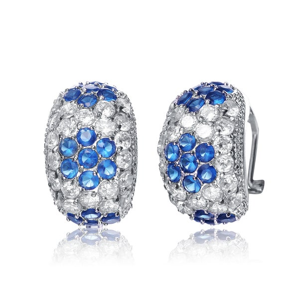 Collette Z Sterling Silver Blue Cubic Zirconia Chunky Hoops