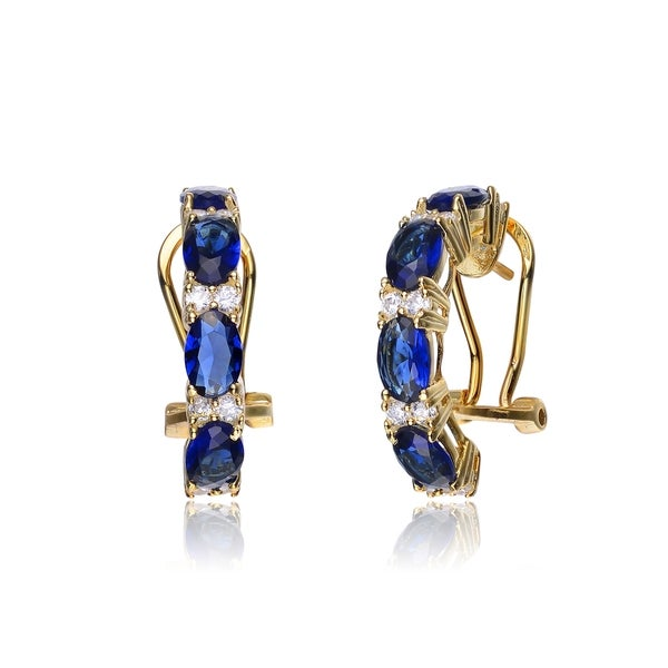 Collette Z Sterling Silver Blue Cubic Zirconia Petite Hoop Earrings