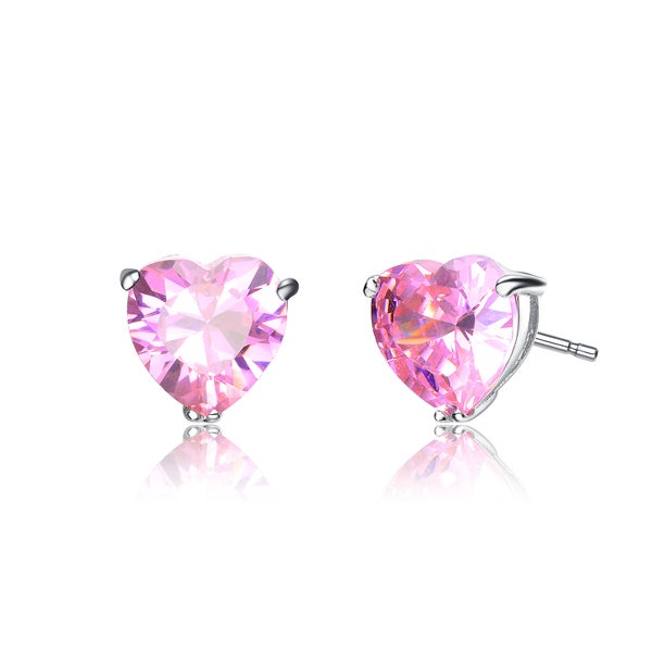 Collette Z Sterling Silver Pink Heart Studs