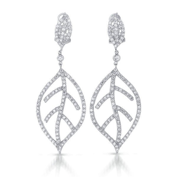 Collette Z Sterling Silver Cubic Zirconia Leaf Drop Earrings