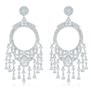 Collette Z Sterling Silver Cubic Zirconia Dangle Earrings With Small Beads