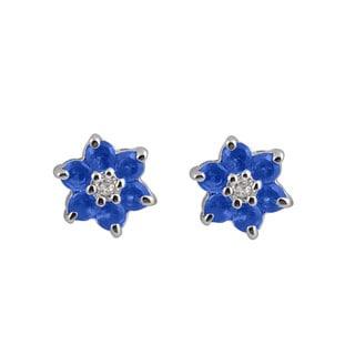 Collette Z Sterling Silver Cubic Zirconia Stud Blooming Flower Earrings