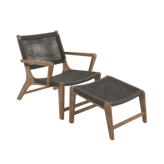 Comfortable Set Of Two Wood Rope Outdoor Chair With Footrest