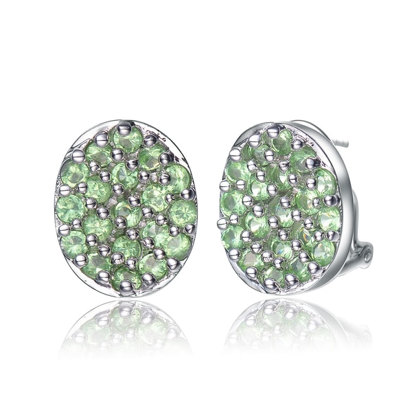 Collette Z Sterling Silver Green Pave Cubic Zirconia Button Earrings