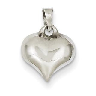 14k White Gold Fashionable Puffed Heart
