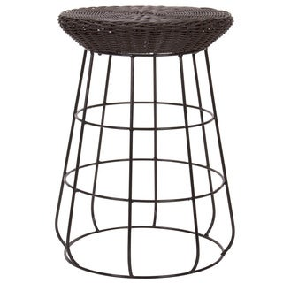 Household Essentials Resin Wicker Low Stool, Brown