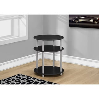 "Accent Table-19""Diameter/Black With Silver Accent"