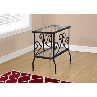 Accent Table-Black Metal With Tempered Glass