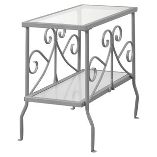 Accent Table-Silver Metal With Tempered Glass