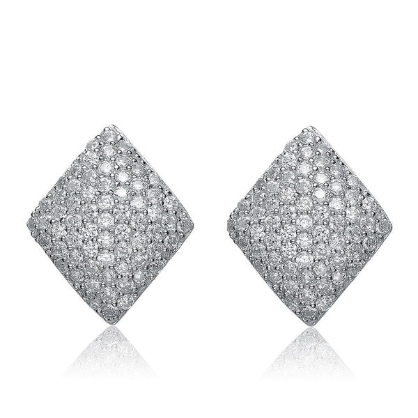 Collette Z Sterling Silver Cubic Zirconia Diamond Shape Studs