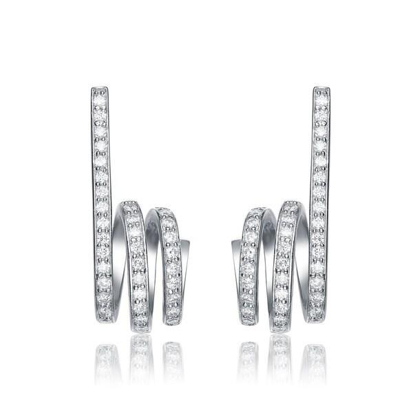 Collette Z Sterling Silver Cubic Zirconia Spiral Drop Earrings