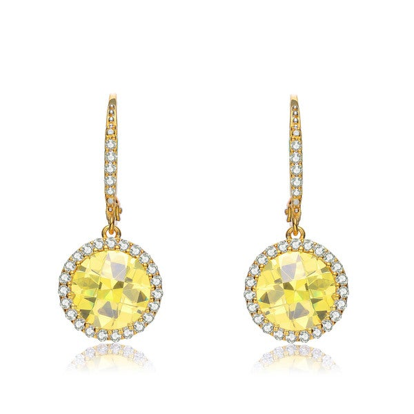 Collette Z Sterling Silver Yellow Cubic Zirconia Stud Drop Earrings
