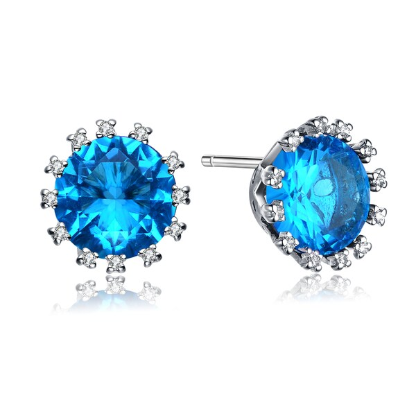 Collette Z Sterling Silver Blue Cubic Zirconia Studs