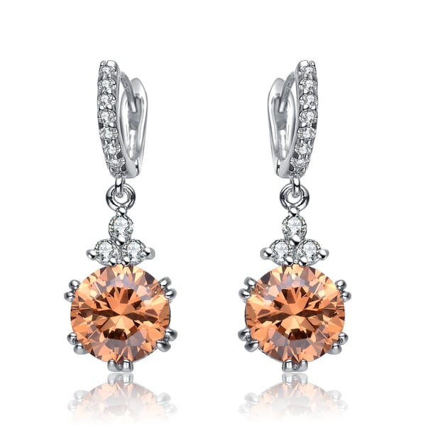 Collette Z Sterling Silver Amber Cubic Zirconia Drop Earrings