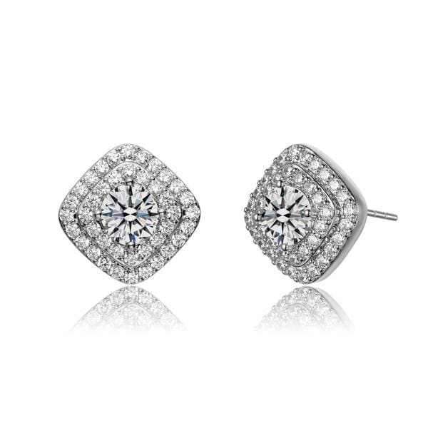 Collette Z Sterling Silver Clear Cubic Zirconia Pave Stud Earrings