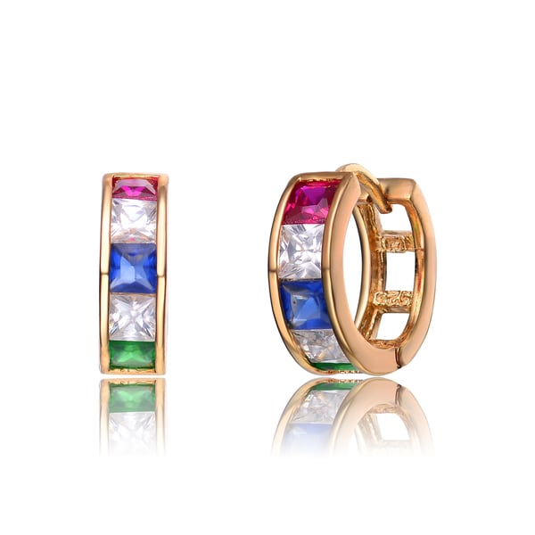 Collette Z Gold Overlay Multicolor Cubic Zirconia Small Hoop Earrings