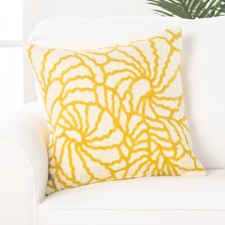 Floral Yellow/Ivory Cotton 18-inch Throw Pillow