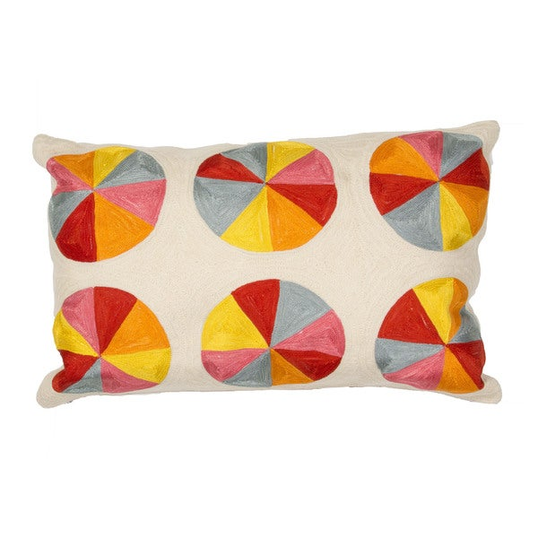 "Geo Pattern Multi/Ivory Cotton Throw Pillow (16""x24"")"