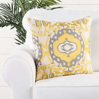 Tribal Pattern Yellow/Gray Cotton 18-inch Throw Pillow