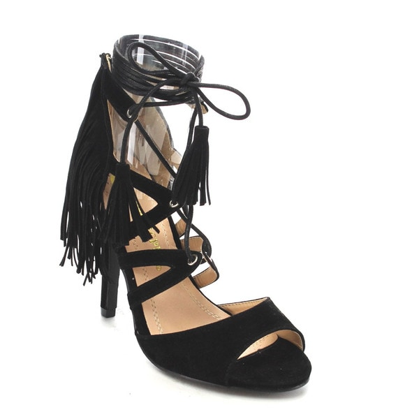 Beston CC67 Women's Fringe Peep Toe Sandals 17572628