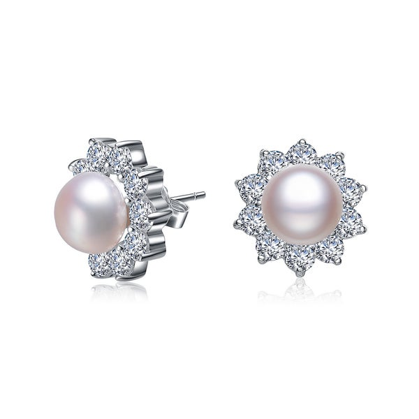 Collette Z Sterling Silver Cubic Zirconia Faux Pearl Studs