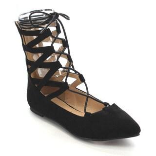 Beston CC85 Women's Pointed Toe Gladiator Flats