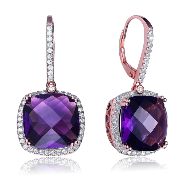 Collette Z Sterling Silver Purple Cubic Zirconia Square Drop Earrings