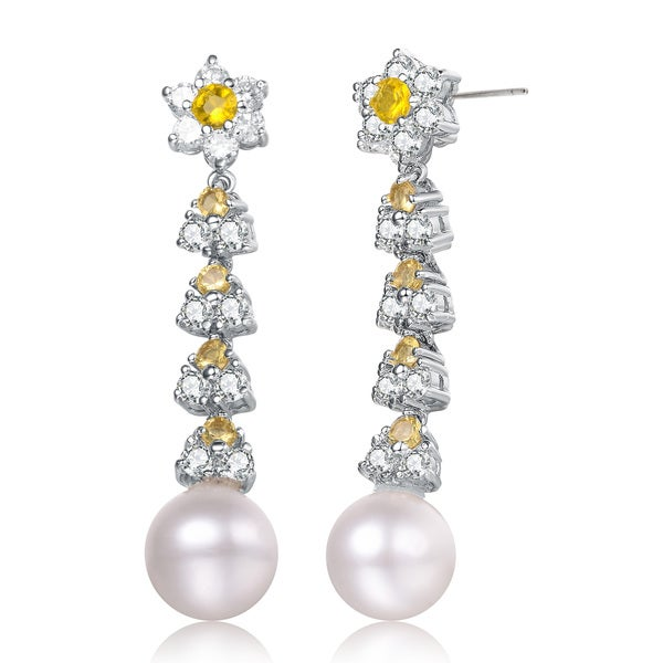 Collette Z Sterling Silver Yellow and Clear Cubic Zirconia Pearl Drop Earrings